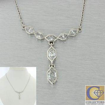 $7200 Vintage Estate Platinum 1.50ctw Trapezoid Bezel Set Diamond Necklace