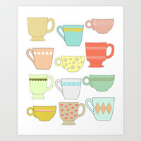 coffee mug/ tea cup Art Print by Little Light Prints