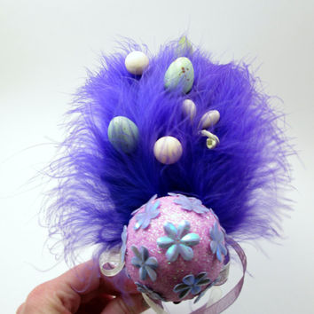 Violet and Lavendar Easter Egg Fascinator - Whimsical Spring Headband - photo prop - Hop - Pastel & Bright
