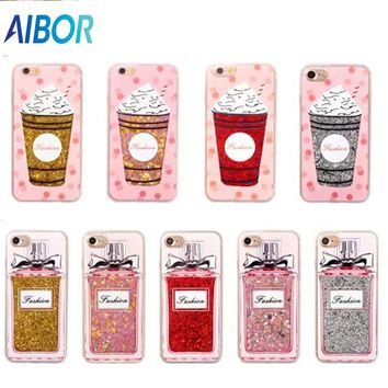 AIBOR Luxury Fashion BlingBling Summer perfume bottle Quicksand Ice Cream Phone Case For iPhone 8 7 6 6S Plus Back Cover Shell