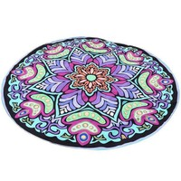 ESBU3C Hot hothot Round Ethnic Printed Hippie Throw Roundie Mandala Towel Yoga Picnic Mat Beach Bikini Cover Up Shawl Pashmina de9