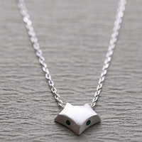 Cute Fox 925 Silver Necklace + Gift Box Jewelry-74