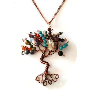 Multi Gemstone Tree of Life Necklace, Turquoise, Citrine, Sodalite, Carnelian, Agate, Jasper, Amber and Hematite Tree of Life