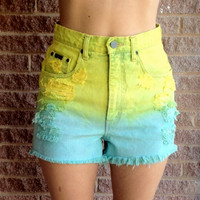Distressed Ombre High Waisted Cut Off Shorts Size 8