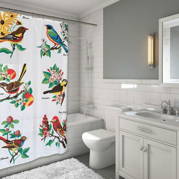 "Aviary Bird Lovers Audubon Fabric Shower Curtain Size: 70"" x 72"""