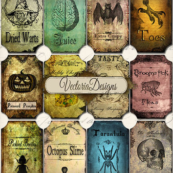 INSTANT DOWNLOAD Halloween Bottle Jar Labels Tags instant download printable  images digital collage sheet 093