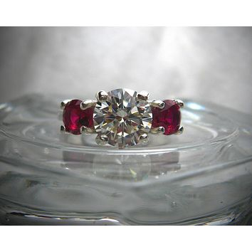 A Handmade 4TCW Round Brilliant Cut Russian Lab Diamond Red Ruby Three Stone Journey Ring