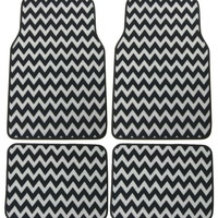 Chevron Gray Black 4 Pc Floor Mat Set