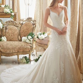 Mori Lee 2883 Tank Sequined Lace Fit & Flare Wedding Dress