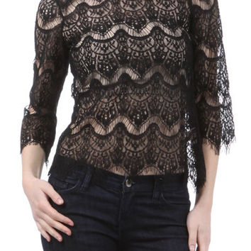 Black Lace Top with Back Zipper