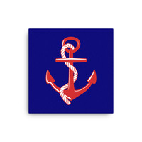 Red White and Blue Nautical Anchor Canvas Print