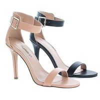 Sydney41 Natural By Breckelle's, Classic High Heel Ankle Strap Sandal, Women's Shoes