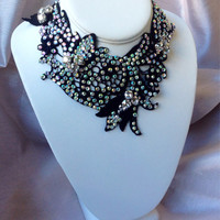 Black Italian Lace Handmade Swarvorski Crystal Necklace