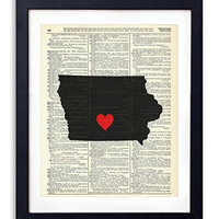 Iowa Capital With Heart Upcycled Vintage Dictionary Art Print 8x10