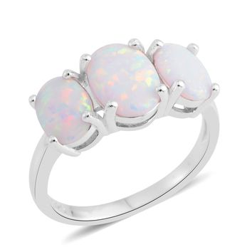 Lab Created White Opal Sterling Silver 3 Stone Ring