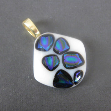 Fused Dichroic Glass Pendant Jewelry, Dichroic Glass Slide, Large Gold Bail - Stepping Stones by mysassyglass