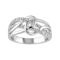 1/10 Carat T.W. Diamond Sterling Silver Loop Ring (White)