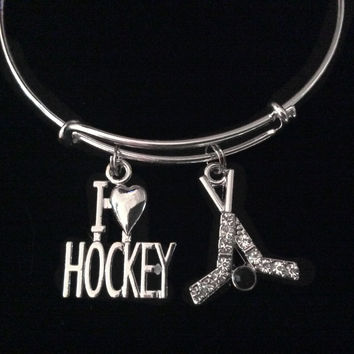I Love Hockey Crystal Hockey Sticks Silver Expandable Charm Bracelet Adjustable Wire Bangle Sports Gift Unique Trendy Coach Team Gift
