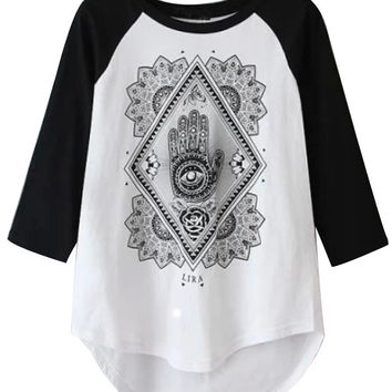 Graphic Print Short Front Tee with Sleeve