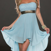 Light Blue Strapless Midi Chiffon Dress