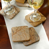 Brown Forest Marble Coasters, Set of 4
