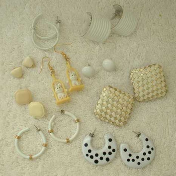 Lot of 9 White Post Style Earrings Rabbits Spots Lamé Jewelry