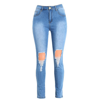 Sexy High Waist Ripped Jeans Woman Destroyed Frayed Hole Mom Jeans Zipper Fly Skinny Denim Pants Pencil Trousers Plus Size SM6