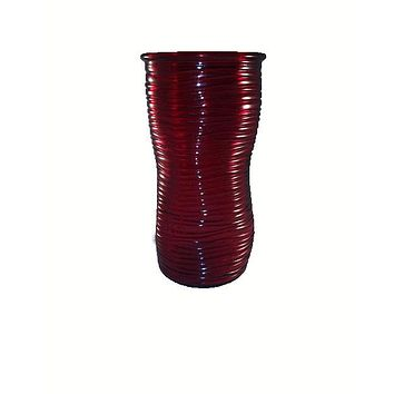 Red Horizontal Ribbed Slouch Vase
