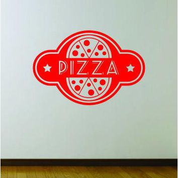 Pizza Logo V1 Wall Decal Sticker Bedroom Room Art Vinyl Home Decor Teen Food Business Kitchen Chef