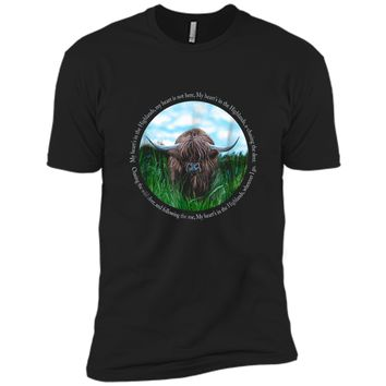 Highland Cow My Heart's In The Highlands Robert Burns Poem Next Level Premium Short Sleeve Tee