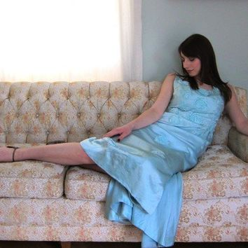 Vintage 1960s Pastel Blue Evening Dress in Satin by BasyaBerkman
