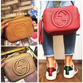 GUCCI hot seller for ladies casual fringed double G embossed shoulder bag
