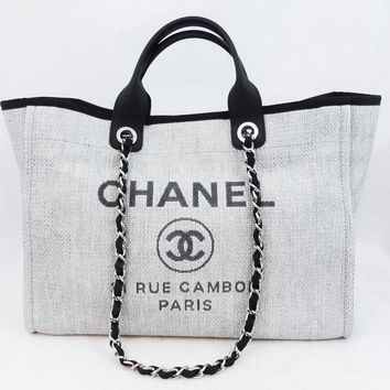 CHANEL DEAUVILLE 2016 GREY LARGE JUMBO CLASSIC SHOPPING TOTE BAG