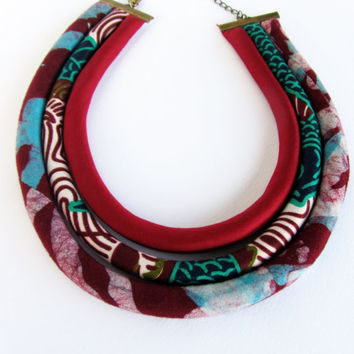 Italian made necklace/ burgundy red /fabric necklace
