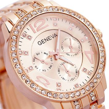 2017 Luxury Geneva Brand fashion gold casual watch women ladies men Crystal dress diamond quartz wrist watch Relogio Feminino