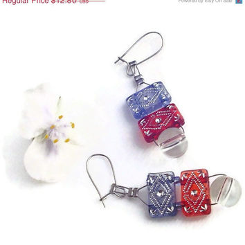 Patriotic dangle earrings acrylic beaded by BrandonArtists on Etsy