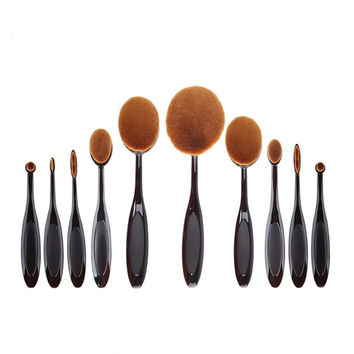 10 Pcs Tooth Brush Shape Oval Makeup Brushes Make Up Brushes Set Foundation Contour Powder Eyebrow Blush Eyeshadow Brush Set