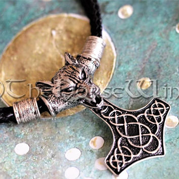 Thor's Hammer Necklace Fenrir Wolf Head Solid Mjolnir Pendant Viking Necklace Thor Hammer Pendant Strength Amulet Viking Jewelry Asatru