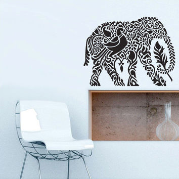 Wall Vinyl Sticker Decals Decor Art Bedroom Design Mural Ganesh Om Elephant Tattoo Mandala Tribal (z3160)