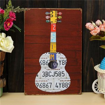Guitar Sheet Metal Drawing Retro Metal Pub Club Tavern Cafe Shop Poster Sign Tin Decor