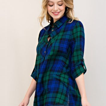 Sabrina Plaid Long Sleeve Top