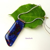 Gaia's Amulet Smooth Dichroic Fused Glass OOAK Handmade Pendant