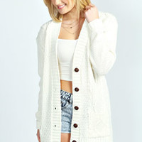 Ebba Heart Elbow Patch Boyfriend Cardigan