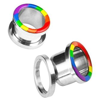 BodyJ4You Rainbow Colors Flag Screw Fit Tunnel 0 Gauge - 14mm - 1 Pair
