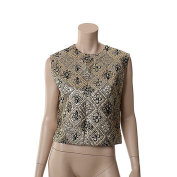 Vintage 50s 60s Lamé Brocade Metallic Top 1950s 1960s Neusteters Rockabilly Bombshell Sleeveless Disco Crop Blouse