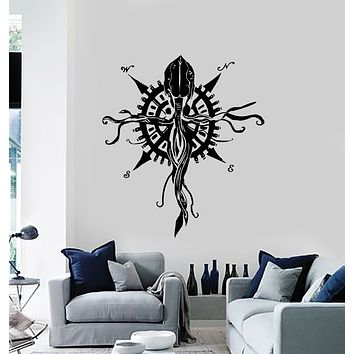 Vinyl Wall Decal Squid Octopus Ocean Sea Fish Compass Marine Style Stickers Mural (g1669)
