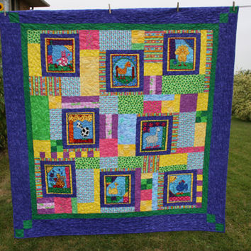 Bright Flannel Twin Size Funny Farm Quilt