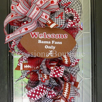 Alabama Football Wreath, Roll Tide Door Hanger, Football Party, Front door wreath, Door Swag