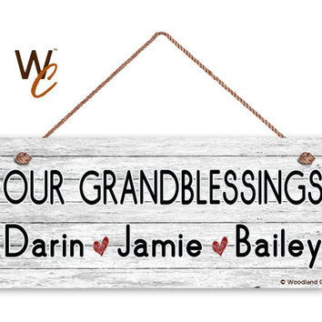 "OUR GRANDBLESSINGS Sign, Add Grandchildren's Names, Distressed Style, Gift For Grandparents, Indoor Outdoor 6"" x 14"" Sign, Made To Order"