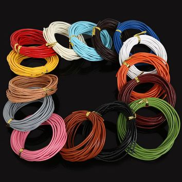 5M Dia 2mm 100% Real Leather Cord Mixed Color Round Jewelry Rope String for Necklace Bracelet Jewelry Supplies DIY Craft